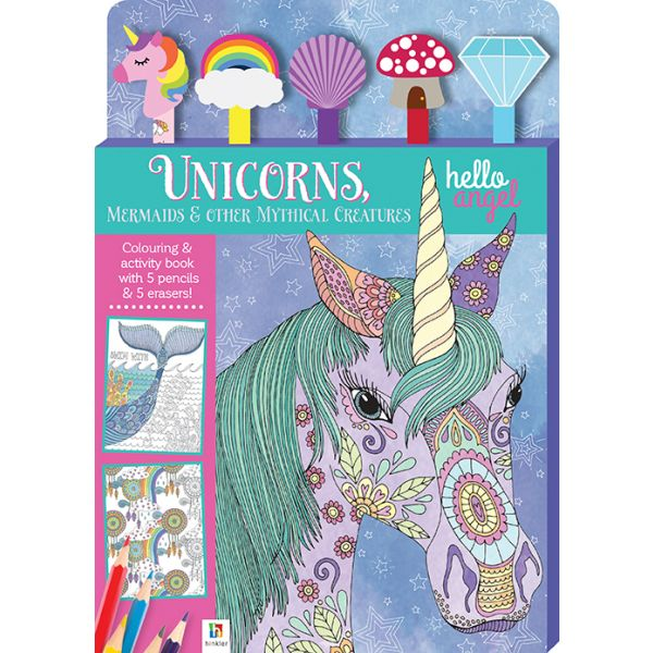 Unicorns Mermaids & other Mythical Creatures Colouring book & 5 Pencils with erasers